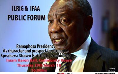 Public Forum: Ramaphosa Presidency
